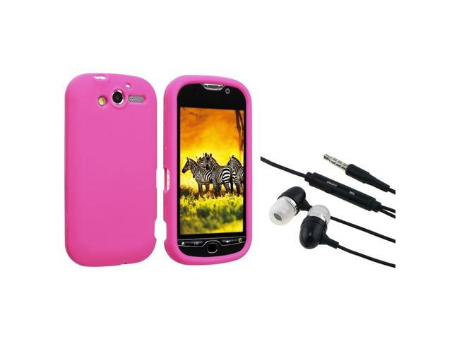 eForCity Hot Pink Silicone Skin Case + Black Universal 3.5mm In-Ear Stereo Headset w/On-off & Mic Bundle Compatible With HTC myTouch 4G T-Mobile ...