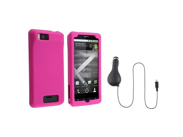 eForCity Hot Pink Silicone Soft Skin Case + Retractable Car Charger Compatible With Motorola Droid X