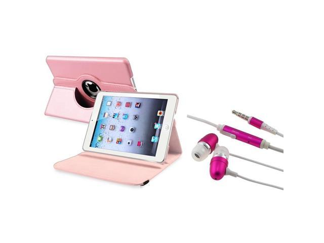 eForCity Light Pink 360 Rotating Leather Case+FREE Hont Pink In-ear(w/on-off)Stereo Headsets Compatible With Apple iPad Mini 1 / Apple iPad Mini ...