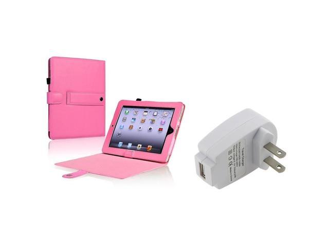 eForCity Pink Leather Case + Usb Travel Charger Adapter Compatible With Apple® iPad