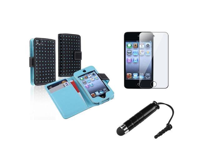 eForCity Black/Blue Dot Wallet Leather Case Cover + LCD Shield + Stylus For iPod Touch 4 4th Gen 4G