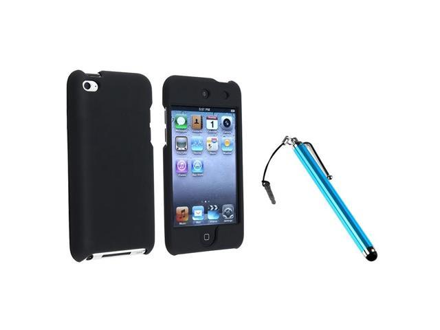eForCity Black Rubber Hard Snap-on Case Cover + Blue Pen Stylus For iPod Touch 4 4th G Gen