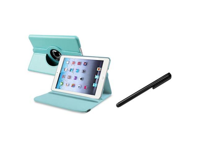 eForCity Light Blue 360 Rotating Leather Case+ Black Stylus Compatible With Apple iPad Mini 1 / Apple iPad Mini 2 / iPad Mini with Retina ...