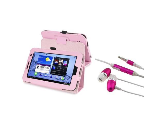 eForCity Pink Leather Case Cover Stand+Pink (w/on-off) Stereo Headsets Compatible With Samsung© Galaxy Tab 2 7.0 P3100/P3110/P3113