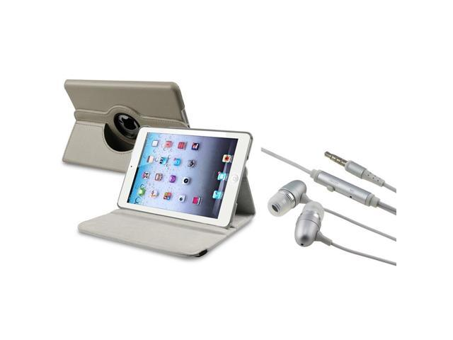 eForCity Grey 360 Rotating Leather Case+ Silver In-ear (w/on-off) Stereo Headsets compatible with Apple iPad Mini 1 / Apple iPad Mini 2 / iPad ...