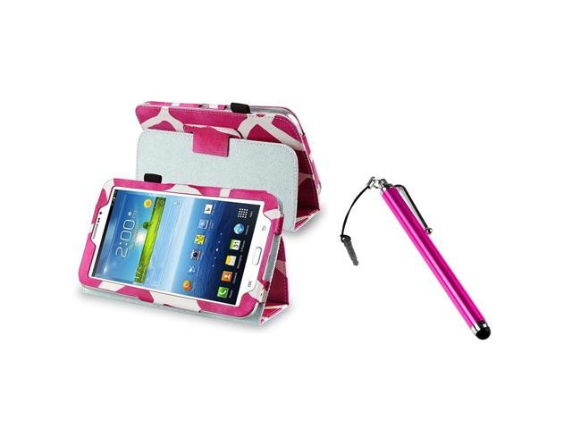 eForCity Pink Giraffe Leather Case Stand Cover Pouch+Pink Metal Stylus Compatible With Samsung© Galaxy Tab 3 7.0 P3200