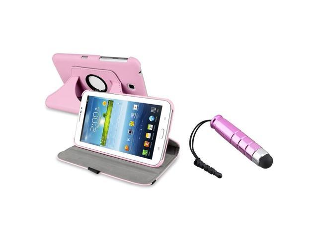 eForCity Pink 360-degree Swivel Leather Case +Mini Pink Stylus Compatible With Samsung© Galaxy Tab 3 7.0 P3200