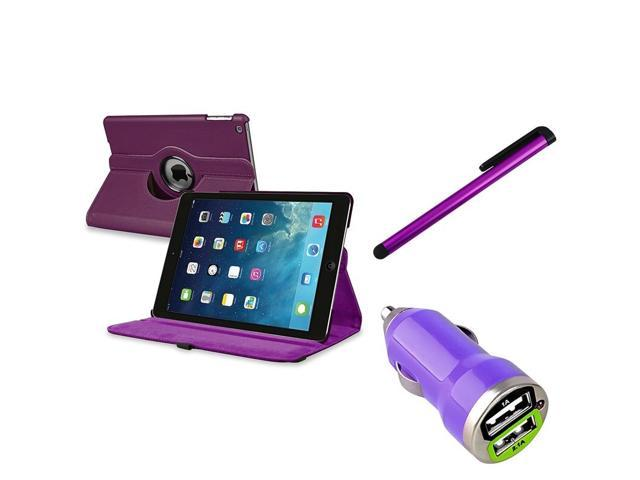 eForCity Purple 360 Swivel Leather Case + Purple Touch Screen Stylus Pen + USB Mini Car Charger Adapter Purple Compatible With Apple® iPad Air / ...