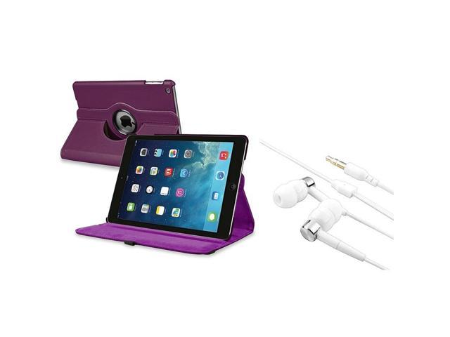 eForCity Purple 360 Swivel Leather Case + White Silver In-ear Stereo 3.5mm Stereo Headsets Compatible With iPad Air / iPad 5