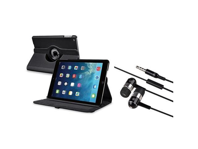 eForCity Black 360 Swivel Leather Case + Black Chrome Silver In-ear Stereo (On-off & Mic) 3.5mm Stereo Headsets Compatible With Apple® iPad Air / ...