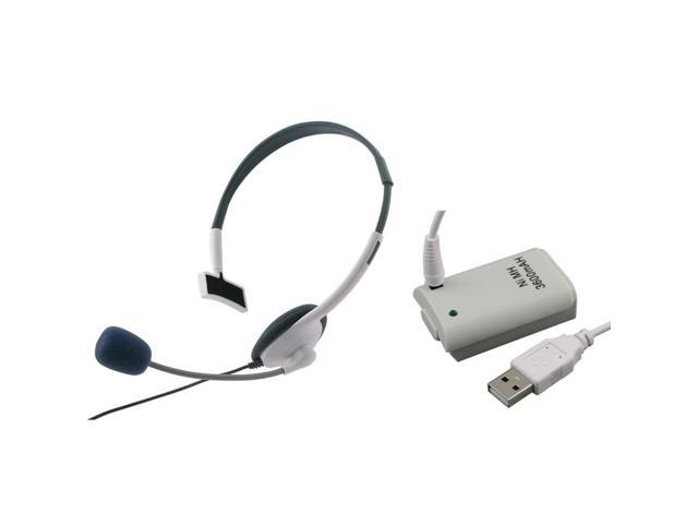 eForCity White Slim Headset with Mic+3600 mAh Battery for Microsoft xBox 360 Wireless Controller