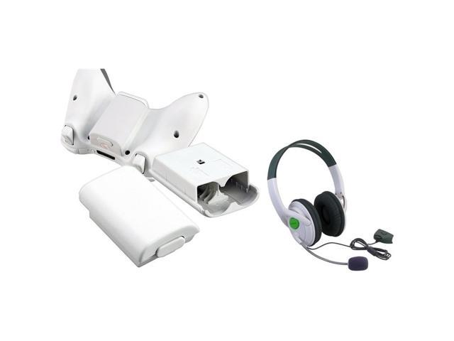 eForCity White Wireless Controller Battery Shell Case + Live Headset w/Mic For Xbox 360