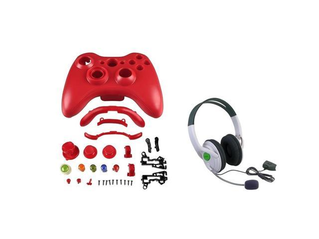 eForCity Red Shell Hard Case Cover + Headset With Microphone Compatible With Xbox 360 Controller