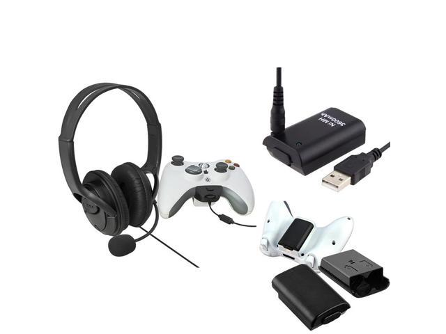 eForCity Black Wireless Controller Battery Pack Shell + Black Headset with Microphone + Black Replacement Battery with USB Cable Compatible With ...