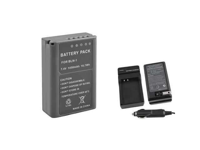 eForCity Battery Charger With Free Replacement Batteries Compatible With Olympus Om-D E-M5