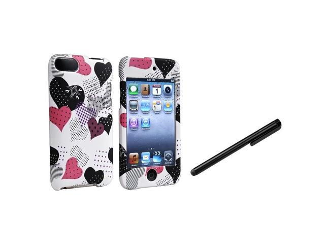 eForCity Pink/Black Heart Cover Case Skin+Black Stylus For Apple® iPod Touch 2nd 3rd Gen 2 3 G