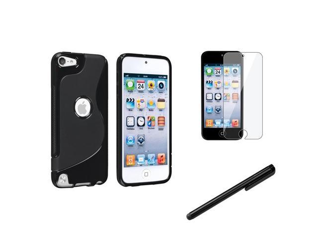 eForCity Black S-Line S-Shape TPU Gel Case+Clear Guard+Stylus For Apple? iPod Touch 5 5G 5th Gen