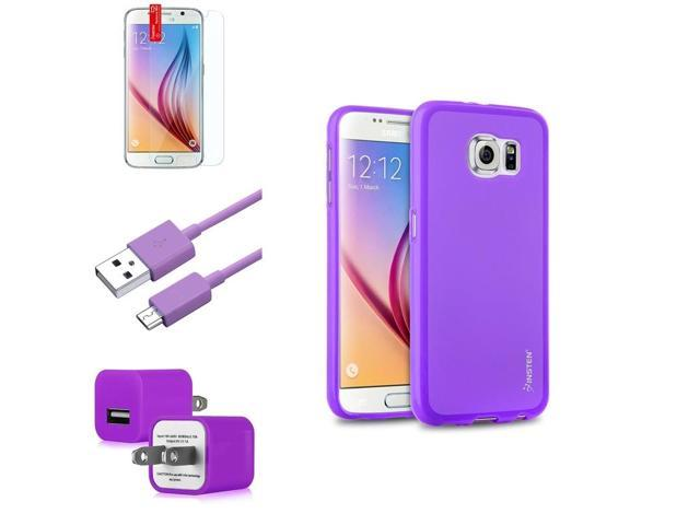 eForCity Purple TPU Pudding Case + Screen Protector + Micro USB Cable + AC Wall Adapter for Samsung Galaxy S6 SM-G920