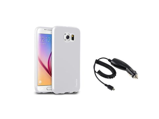 eForCity White Jelly TPU Rubber Gel Case + Micro USB Car Charger for Samsung Galaxy S6 SM-G920