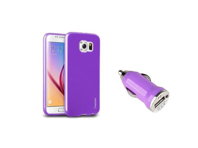 eForCity Purple Jelly TPU Rubber Gel Case + Mini Car Charger Adapter for Samsung Galaxy S6 SM-G920