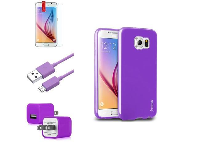 eForCity Purple Jelly TPU Rubber Case + Screen Protector + Micro USB Cable + AC Wall Adapter for Samsung Galaxy S6 SM-G920