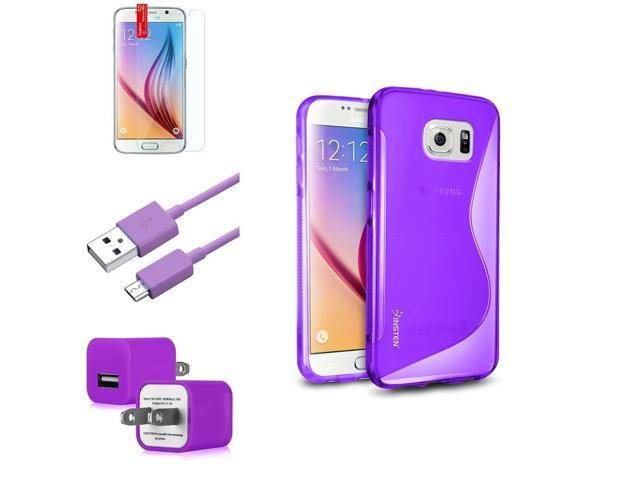 eForCity Clear Purple TPU S Shape Case + Screen Protector + Micro USB Cable + AC Wall Adapter for Samsung Galaxy S6 SM-G920