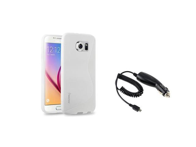 eForCity White TPU S Shape Back Case + Micro USB Car Charger for Samsung Galaxy S6 SM-G920