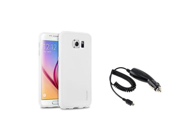eForCity White TPU Pudding Rubber Gel Case + Micro USB Car Charger for Samsung Galaxy S6 SM-G920