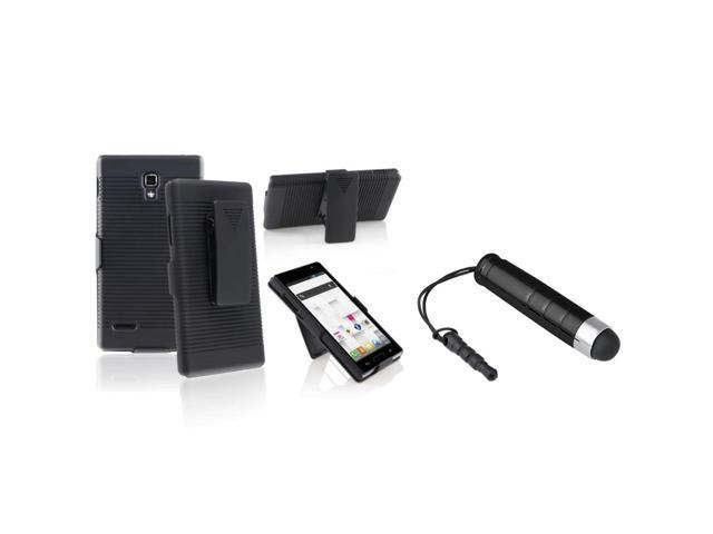 eForCity Black Swivel Holster with Stand Hard Plastic Case with FREE Black Stylus Pen Compatible with LG Optimus L9 P769