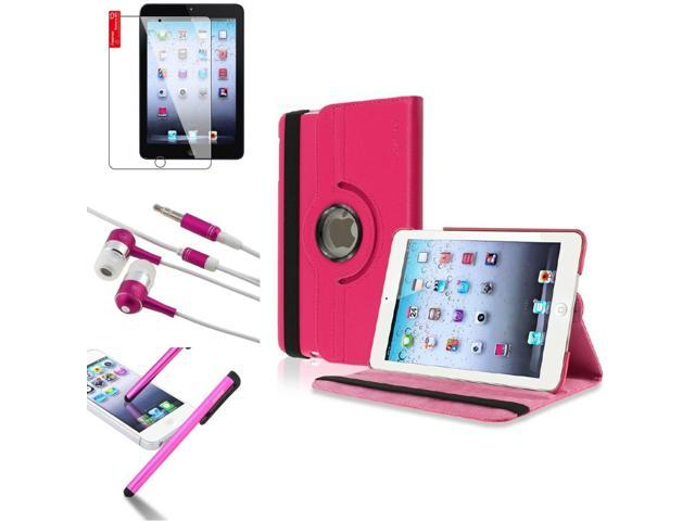 eForCity 4 Bundle Hot Pink 360 Rotating Leather Case Guard Headset Stylus compatible with Apple iPad Mini 1 / Apple iPad Mini 2 / iPad ...