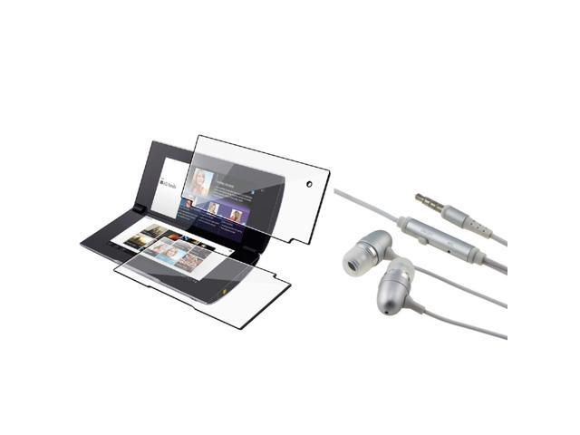 eForCity 2 LCD Kit Reusable Screen Protector + Silver Headset compatible with Sony S2
