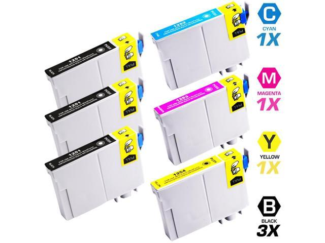 Replacement Epson T125 Set of 6 Ink Cartridges: 3 Black (T1251) & 1 Cyan (T1252), 1 Magenta (T1253), 1 Yellow (T1254)