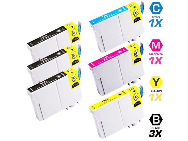 Replacement Epson T126 Set of 6 High Yield Ink Cartridges: 3 Black (T1261) & 1 Cyan (T1262), 1 Magenta (T1263), 1 Yellow (T1264)