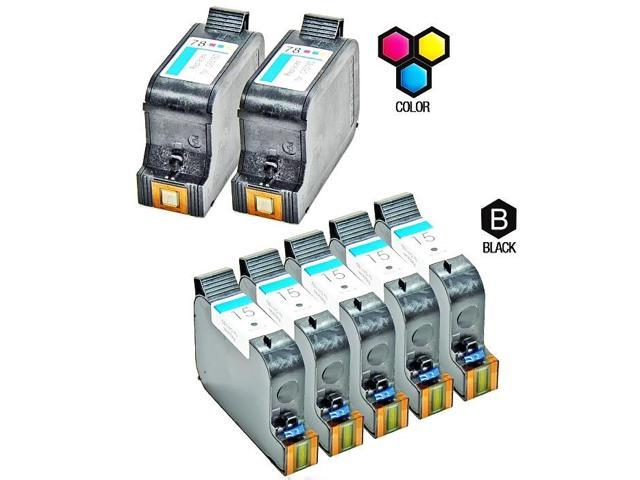 Compatible Hewlett Packard HP 15 Black (C6615DN / C6615D) & HP 78 Tri Color (C6578DN / C6578D) Combo Pack of 7 Ink Cartridges