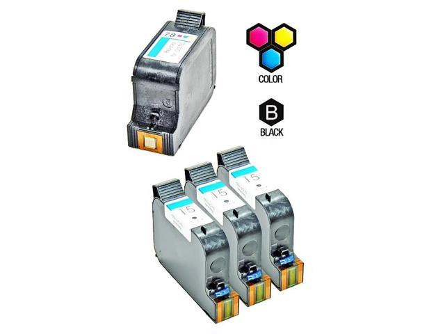 Compatible Hewlett Packard HP 15 Black (C6615DN / C6615D) & HP 78 Tri Color (C6578DN / C6578D) Combo Pack of 4 Ink Cartridges
