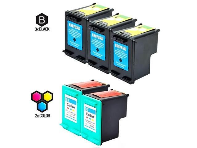 Compatible Hewlett Packard (HP) C8765WN (HP 94) and C9363WN (HP 97) Set of 5 Ink Cartridges: Includes 3 Black and 2 Color Cartridge