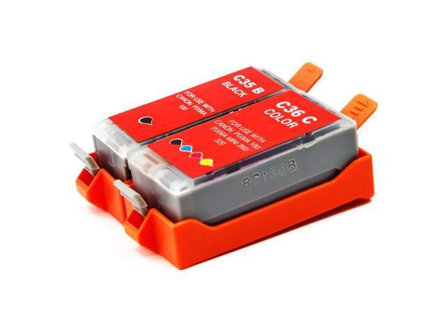 Canon Pixma iP100 Compatible Set of 2 Ink Cartridges: 1 Black PGI35, 1 Color CLI36