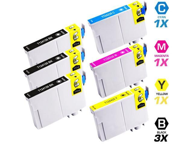 Replacement Epson T124 Set of 6 Ink Cartridges: 3 Black (T1241) & 1 Cyan (T1242), 1 Magenta (T1243), 1 Yellow (T1244)