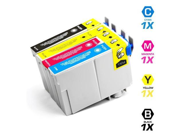 Remanufactured Replacement for Epson T068 4-Set Ink Cartridges: 1 Black & 1 each of Cyan / Magenta / Yellow