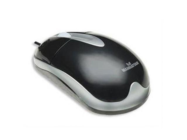 MANHATTAN 177016 Manhattan Optical USB Mouse with Scroll Wheel, 1000 dpi, Black/Silver