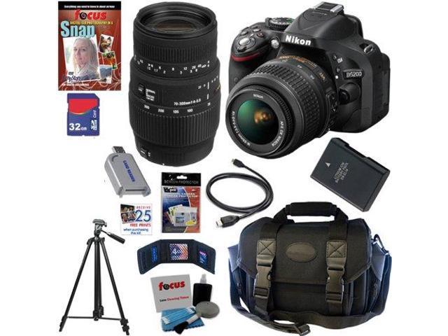 Nikon D5200 24.1 MP CMOS Digital SLR Camera (Black) with 18-55mm f/3.5-5.6G AF-S DX VR Lens and Sigma 70-300mm f/4-5.6 SLD DG Macro Lens with ...