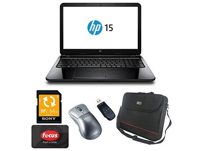 HP 15-g048ca AMD Quad Core Laptop Computer with 64GB Accessory Bundle