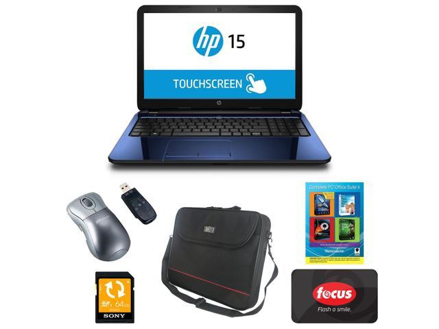 HP 15-g124ds 15.6? Touchscreen Notebook with AMD Quad-Core APU (Manufacturer Refurbished) and 64GB Deluxe Accessory Kit